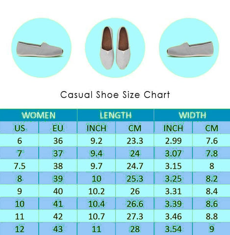 Womens Canvas Style Shoes Size Chart