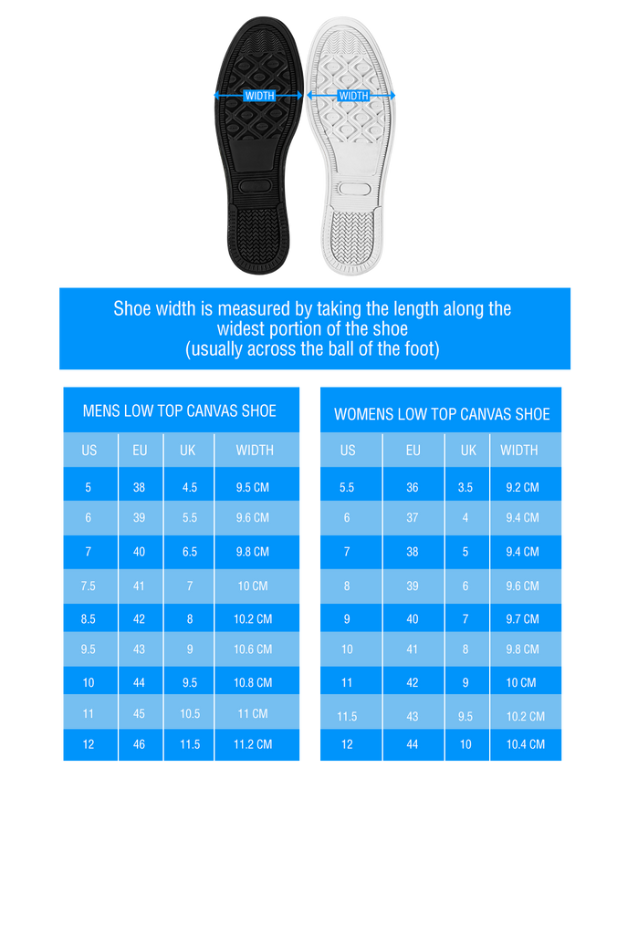 Low Top Sizing Chart