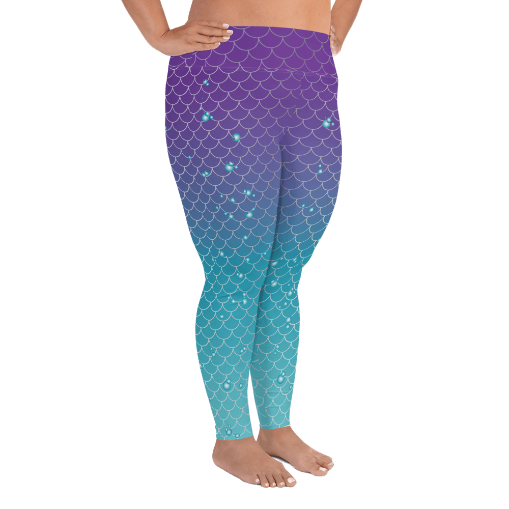 Leggings - Mermaids And Bubbles | Curvy Leggings  | Made In The USA