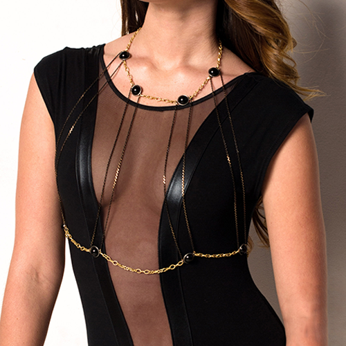 Cleopatra Black and Gold Bust Necklace