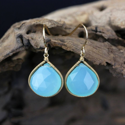 Aqua Chalcedony Dangle Earring