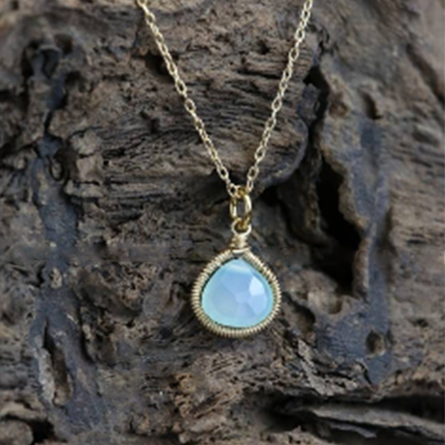 Aqua Haze Chalcedony Necklace