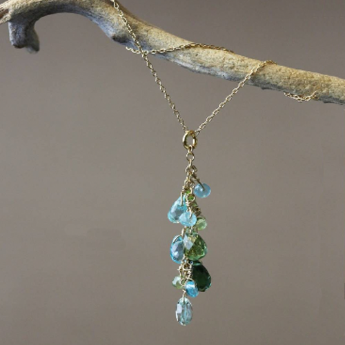 Aqua + Green Stone Necklace