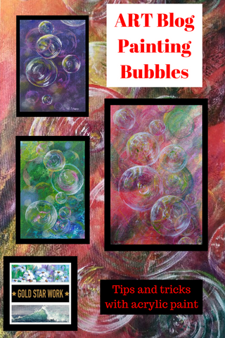 Bubble Inspired Painting. Using paper towels for interesting Background effects.