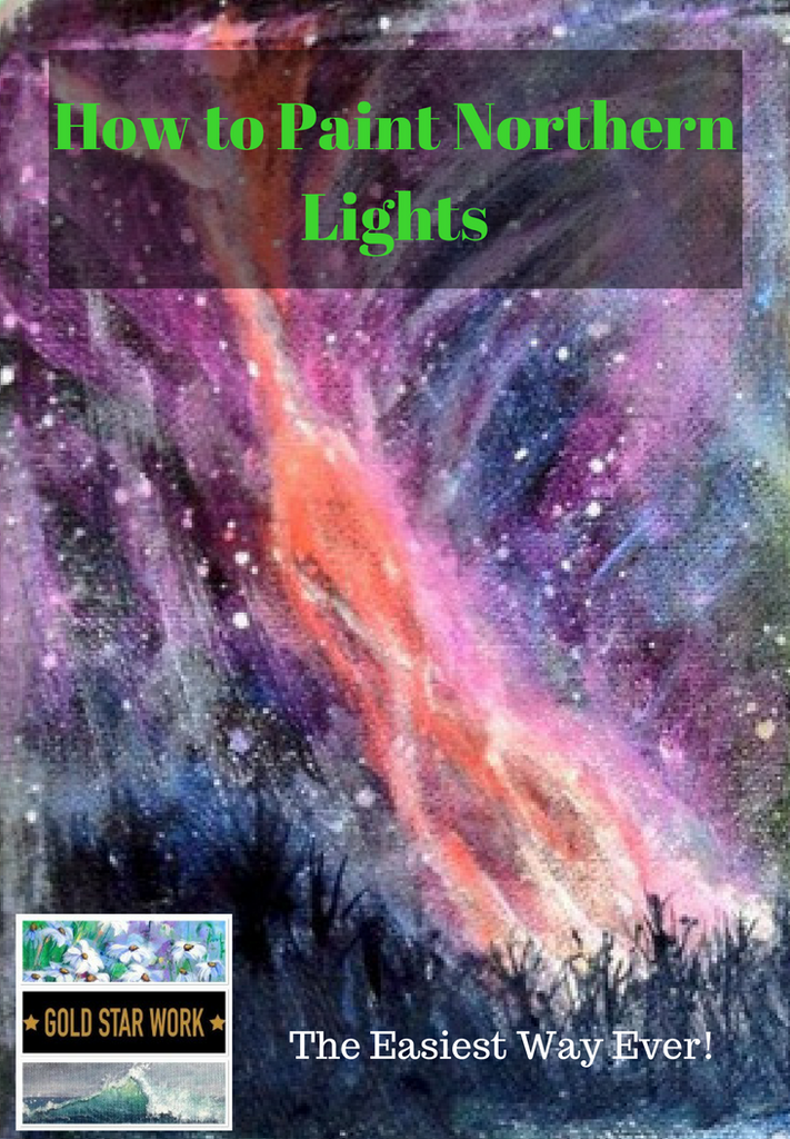 How To Paint Northern Lights In Acrylic Paint, The Easy Way.