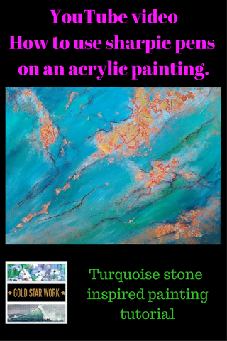 Abstract Painting Inspired by Turquoise Stone.