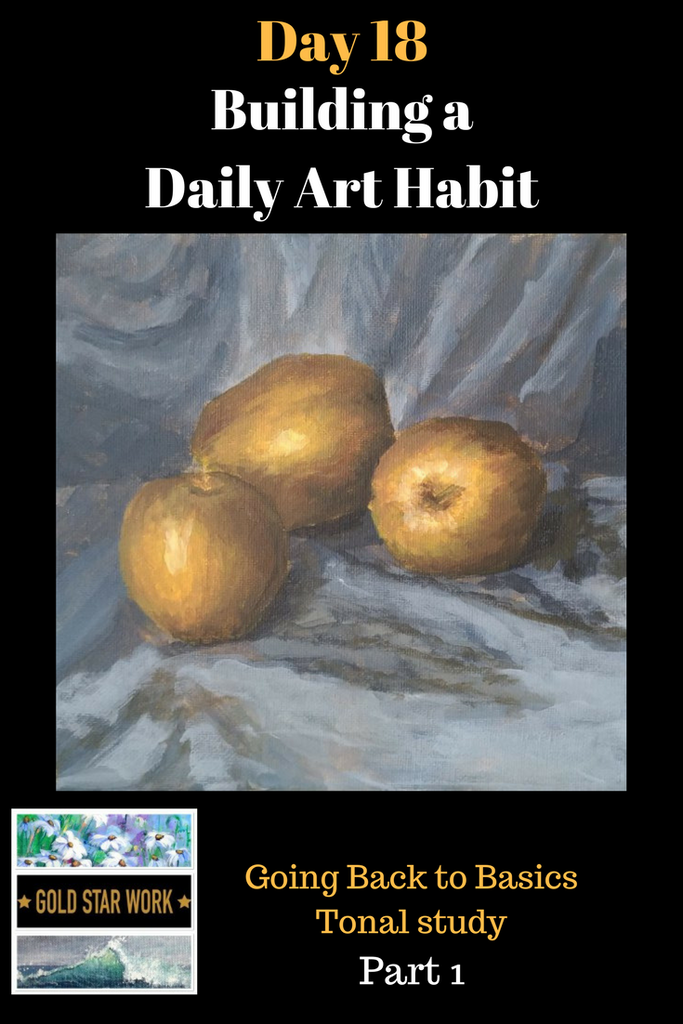 Day 18 Building a Daily Art Habit, Part 1, Painting apples, back to basics. Setting up a still life tips