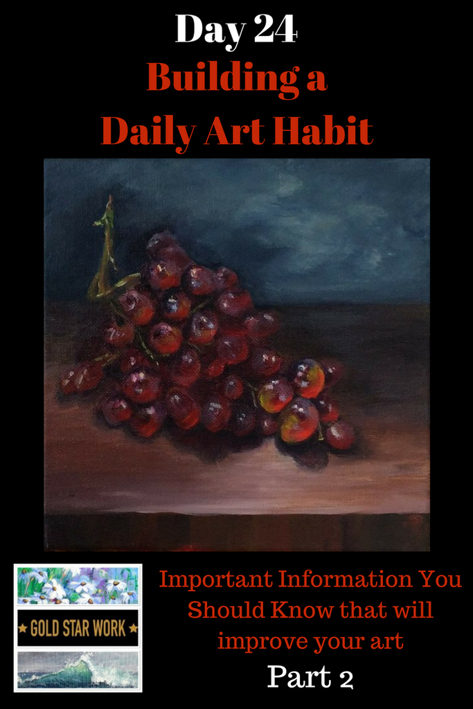 Day 24 Building a Daily Art Habit, How to put that composition information into Practice. Pt 2 Painting Grapes