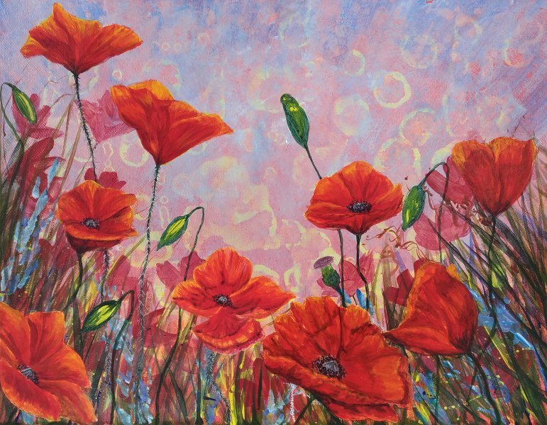 How to paint red poppies with glowing colour.