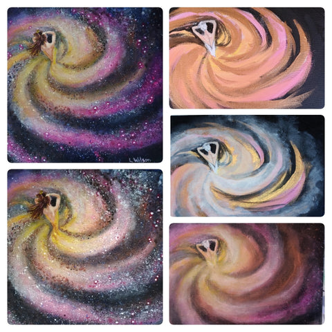 Art Blog, How glazing can add depth of colour and glow to your painting. Pink Swirl Galaxy girl by Goldstarwork, Artist Laura Wilson