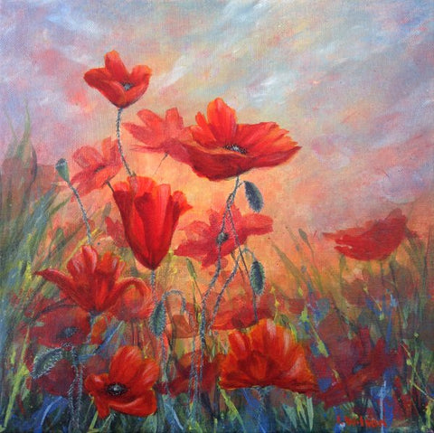 Red poppy painting by Goldstarwork. From Blog colour theory is that colour warm or cool, Blue Paint.
