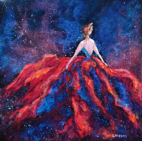 fantasy art acrylic painting galaxy girl by Goldstarwork, artist Laura Wilson