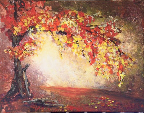 Autumn wonder tree in fall, acrylic painting by Laura Wilson, Goldstarwork from art blog
