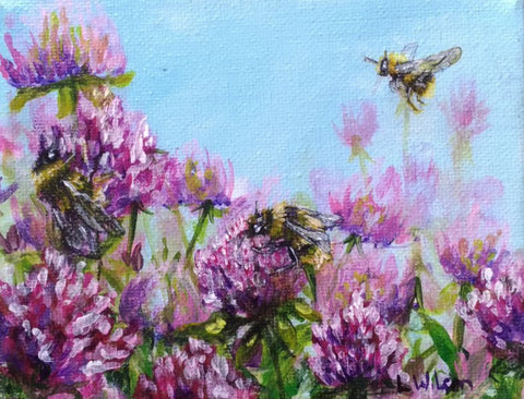 clover flowers and bumblebees acrylic painting by Goldstarwork, artist Laura Wilson