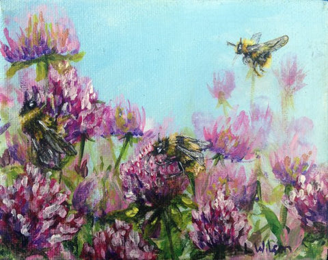 Bumblebee Haven, Acrylic painting. Clover flowers. Art Blog improve your painting by working in a series. by Goldstarwork, Artist Laura Wilson
