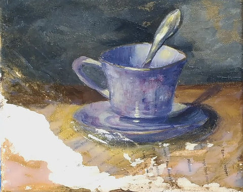 building a daily art habit, acrylic painting teacup
