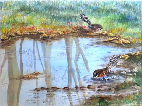 Fantail reflections painting by Goldstarwork, Artist Laura Wilson from blog where does inspiration come from and how to use it for painting.