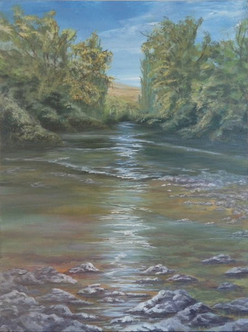 Framed by nature. acrylic painting of a river by Goldstarwork, Artist Laura Wilson