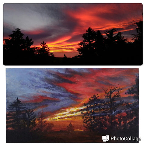 Sunset from my backyard. photo and painting. Art Blog by Goldstarwork, Artist Laura Wilson