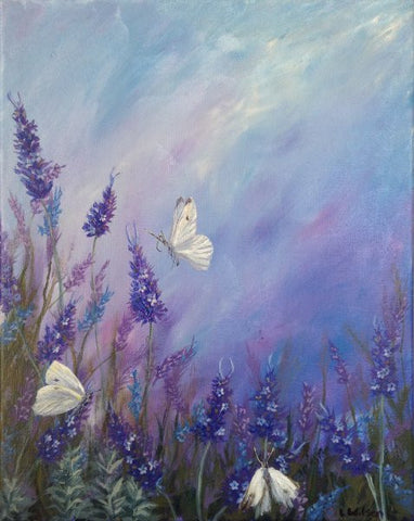 Lavender in summer acrylic painting of flowers and white butterflies by Goldstarwork artist Laura Wilson