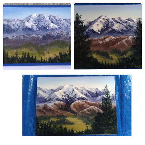 Mountain paintings in acrylic paint. Art blog where does inspiration come from and how to use it. By Goldstarwork, Artist Laura Wilson