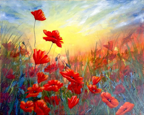 How to paint red poppies with glowing colour using acrylic paints so first off paint your background mightylinksfo