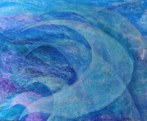 Sails blue abstract acrylic painting by Laura Wilson, Goldstarwork from art blog is that blue paint warm or cool.