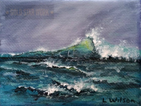 Stormy Wave acrylic painting inspired by Sea and Sky in acrylic by Dave White. Book review by Goldstarwork, Artist Laura Wilson