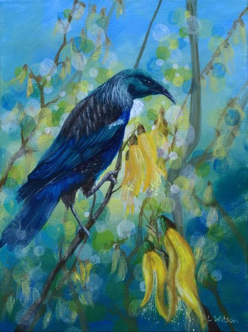 Tui in a Kowhai tree acrylic painting by Goldstarwork, artist Laura Wilson