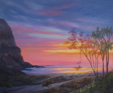 Glowing trees acrylic painting for how to paint glowing sunsets blog by Goldstarwork, Artist Laura Wilson