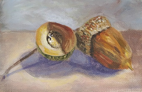acorn painting in acrylic paint by Goldstarwork, Artist Laura Wilson