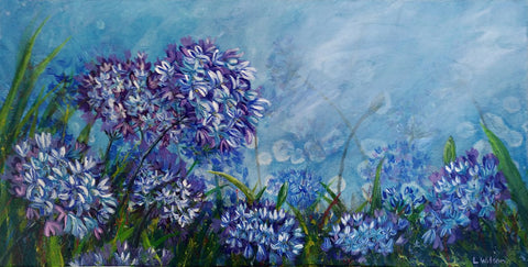 Agapanthus flowers acrylic painting by Goldstarwork, artist Laura Wilson