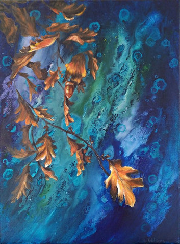 Oak leaf over the water, acrylic painting by Laura Wilson, Goldstarwork from Art Blog