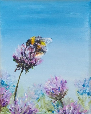 Bumblebee painting on clover acrylic on canvas by Goldstarwork, Artist Laura Wilson
