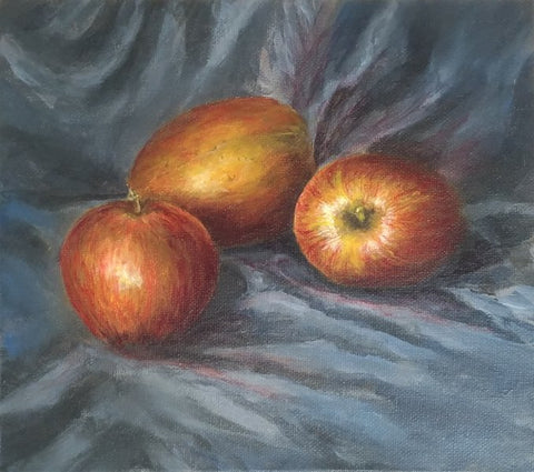 Glaze added to make red apples. Art Blog about how and why to learn glazing techniques with acrylic paint by Goldstarwork, Artist Laura Wilson