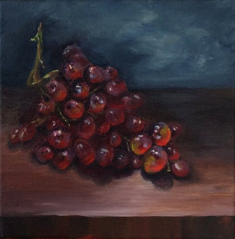 Painting of grapes using a still life and photos together. Art Blog by Goldstarwork, Artist Laura Wilson