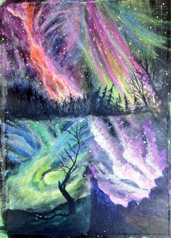 Four northern lights paintings done with glazing. Art Blog on how and why you should learn glazing technique for your acrylic paintings. By Goldstarwork, Artist Laura Wilson