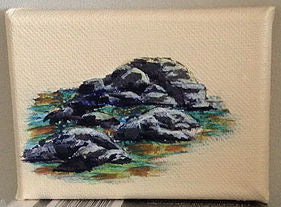 How to Paint Rocks adding finial highlights art blog by Goldstarwork, Artist Laura Wilson