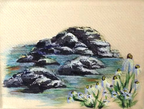 How to paint rocks for your landscape paintings. Art blog by Goldstarwork, Artist Laura Wilson