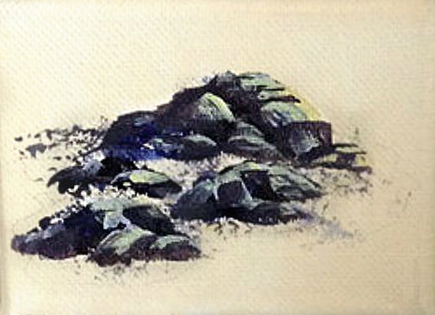 How to Paint Rocks adding in highlights. rt blog by Goldstarwork, Artist Laura Wilson