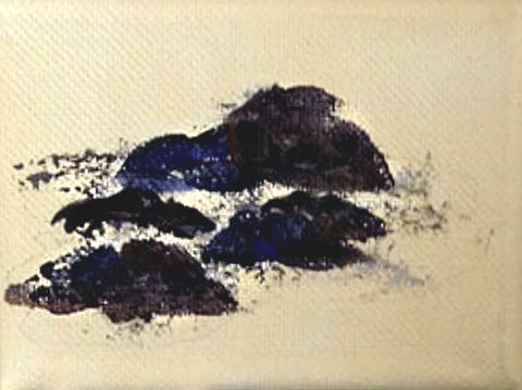 How to paint rocks for your landscape paintings. putting in rock shapes. Art blog by Goldstarwork, Artist Laura Wilson