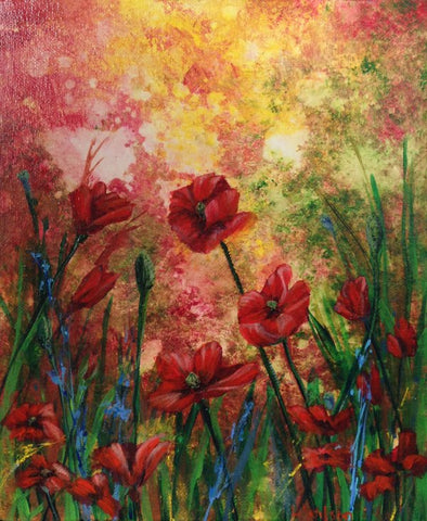 poppy field acrylic painting by Goldstarwork, Artist Laura Wilson