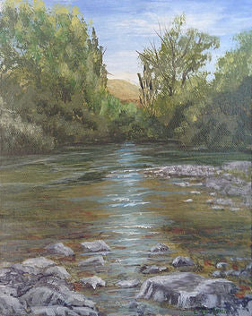 Acrylic river painting from art blog by Goldstarwork, Is that colour warm or cool and does it even matter