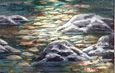 How to paint a rocky river bed art blog. Step by step lesson by Goldstarwork, Artist Laura Wilson