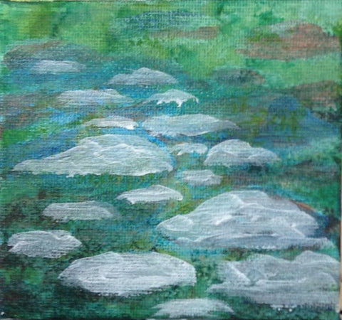 Start Again, Art Blog on How to paint a rocky river bed by Goldstarwork, Artist Laura Wilson