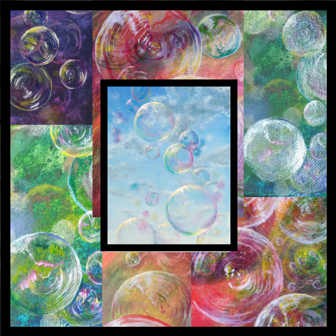 Bubble series, ten easy step to create a painting series. Art Blog on how to improve your art by Goldstarwork, Artist Laura Wilson