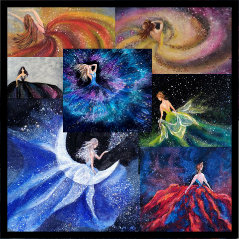 Galaxy girl series. How to plan a series of paintings and why you should in ten easy steps. Art Blog by Goldstarwork, Artist Laura Wilson