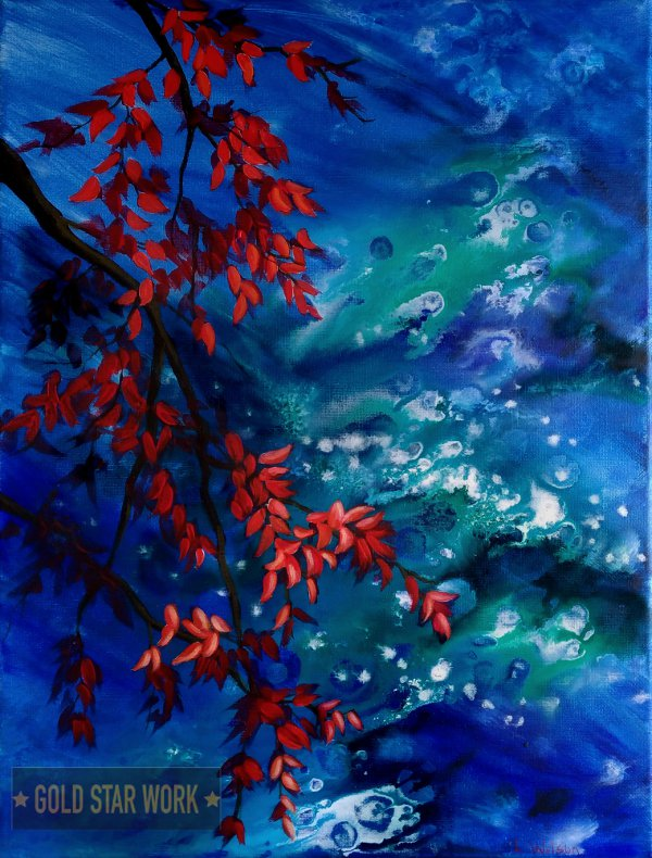 Bright blue waters an acrylic contemporary painting featuring an abstract river background and autumn red leaves. By Goldstarwork, Artist Laura Wilson