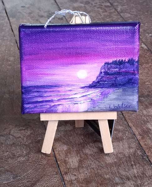 Small acrylic seascape painting, purple sunrise at the beach perfect as small gift by Goldstarwork, Artist Laura Wilson