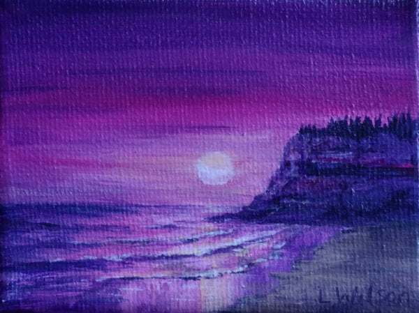 small seascape acrylic painting, purple sunrise at the beach by Goldstarwork, Artist Laura Wilson